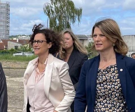 Sur le chantier du futur lycée de Bagneux avec la Ministre Emmanuelle Wargon